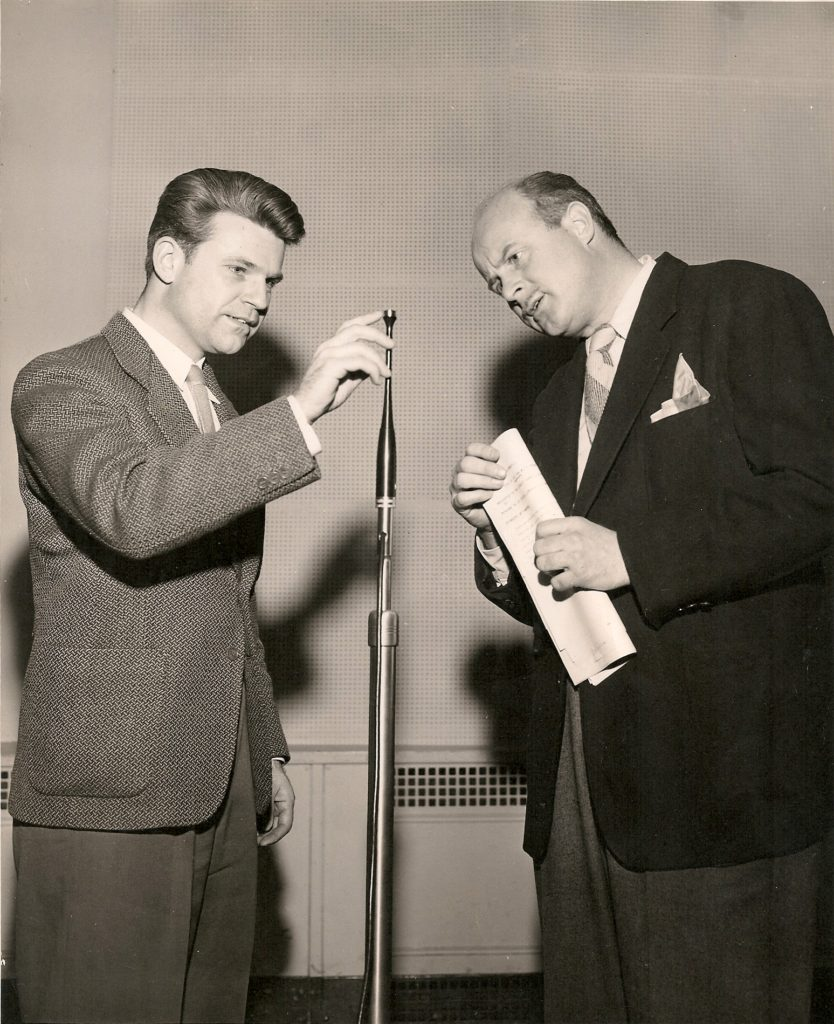 PSV Pointing to 1st Practical Studio Condenser Micophone Developed at Altec Lansing circa 1946